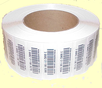 Quoted laminated Bar code labels net cost. by the thousand: