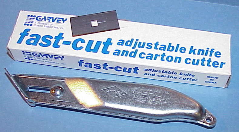 Discontinued: Garvey fast-cut adjustable knife & carton opener.
